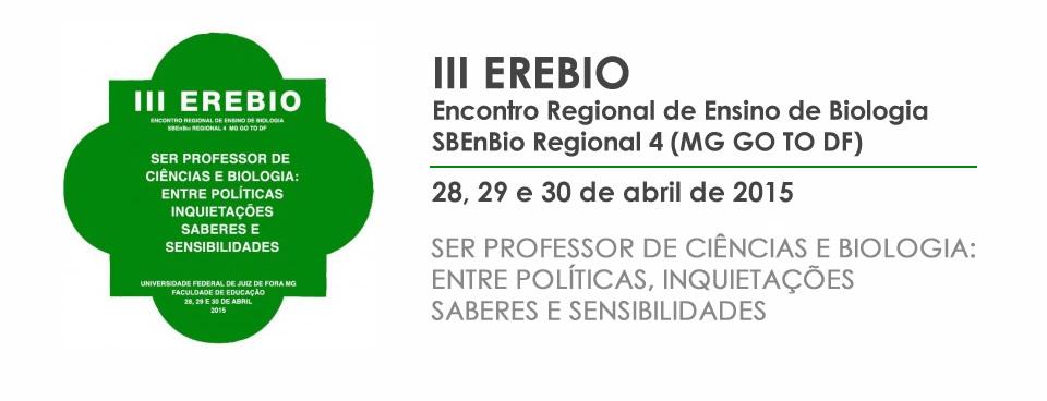 Site do III Encontro Regional de Ensino de Biologia
