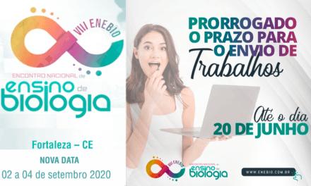 Prorrogação para submissão de trabalhos – ENEBIO 2020