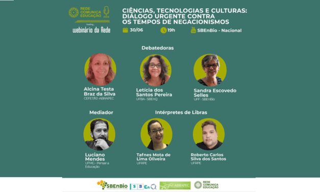 IV Webinário da Rede com o tema Ciências, tecnologias e culturas: diálogo urgente contra os tempos de negacionismos